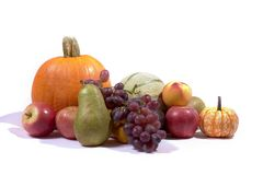 Thanksgiving harvest. A collection of autumn harvest, isolated on white Stock Photography