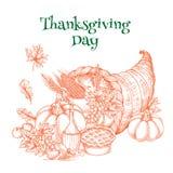 Thanksgiving harvest cornucopia greeting sketch Royalty Free Stock Photo