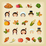 Thanksgiving Harvest icon set Royalty Free Stock Photo