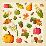Thanksgiving Harvest icon set Stock Photos