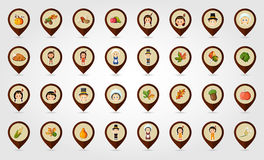 Thanksgiving Harvest mapping pin icon set Royalty Free Stock Photography