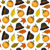 Thanksgiving Hat & Pumpkins Seamless Royalty Free Stock Photos