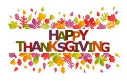 Thanksgiving heureux avec des feuilles illustration stock