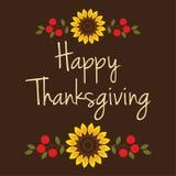 Thanksgiving heureux avec des tournesols et des baies Photographie stock libre de droits