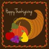 Thanksgiving heureux avec la corne d'abondance Photo stock