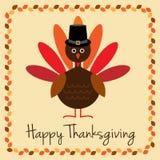 Thanksgiving heureux avec le chapeau de dinde et de pèlerin Images libres de droits