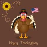 Thanksgiving heureux - salutation mignonne de la Turquie illustration stock