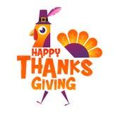 Thanksgiving heureux, typographique, personnage de dessin animé Photographie stock libre de droits
