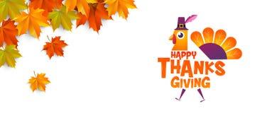 Thanksgiving heureux, typographique, personnage de dessin animé Photos libres de droits