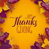 Thanksgiving holiday banner with congratulation text. Autumn tree leaves on yellow background. Autumnal design for fall season. Poster, thanksgiving greeting royalty free illustration