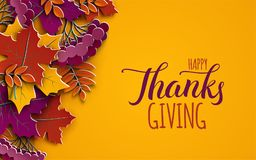 Thanksgiving holiday banner with congratulation text. Autumn tree leaves on yellow background. Autumnal design, fall season poster. Thanksgiving holiday banner stock illustration