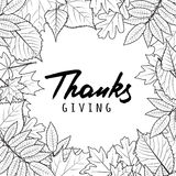 Thanksgiving holiday banner with linear black and white autumn leaves and calligraphy lettering. Stock Photography