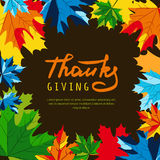 Thanksgiving holiday banner with multicolor maple autumn leaves and calligraphy lettering. Stock Images