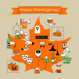 Thanksgiving holiday card . Colorful  icons flat line Royalty Free Stock Photo