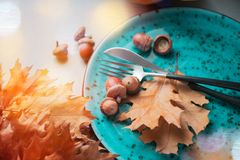 Thanksgiving. Holiday dinner table served, decorated with bright autumn leaves royalty free stock photo