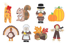 Thanksgiving Holiday Icons. Eight Thanksgiving holiday icons isolated over white Royalty Free Stock Photos