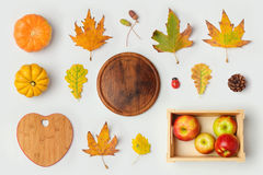 Thanksgiving holiday objects for mock up template design. Autumn pumpkin and fall leaves. View from above. stock photo