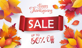 Thanksgiving Holiday Sale voucher, Sale red ribbon Royalty Free Stock Photography