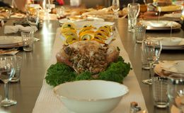 Thanksgiving Holiday Table Setting for Turkey. Thanksgiving Holiday Table Setting Turkey Stock Photos