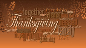 Thanksgiving holiday word montage with leaves Royalty Free Stock Image