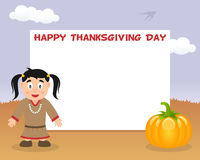 Thanksgiving Horizontal Frame Native Girl Royalty Free Stock Photo