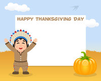 Thanksgiving Horizontal Frame Native Man Royalty Free Stock Images