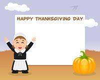 Thanksgiving Horizontal Frame Pilgrim Girl Royalty Free Stock Photography