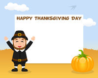 Thanksgiving Horizontal Frame Pilgrim Man Royalty Free Stock Image