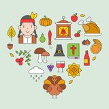 Thanksgiving icon arrange as heart shape for use as cover,background,wallpaper,backdrop stock illustration