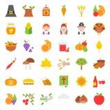 Thanksgiving icon big set, flat design royalty free illustration