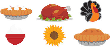 Thanksgiving icons Stock Photos