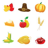 Thanksgiving icons Royalty Free Stock Images