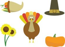 Thanksgiving icons. On a white background Vector Illustration