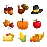 Thanksgiving icons stock illustration