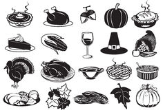 Thanksgiving icons Stock Photos