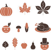 Thanksgiving icons Royalty Free Stock Photos