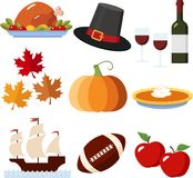 Thanksgiving Icons. A Set of Colorful Thanksgiving Icons Stock Photos