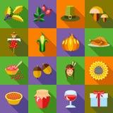 Thanksgiving icons set, flat style Stock Image