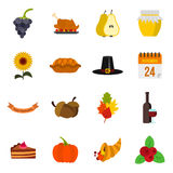 Thanksgiving icons set, flat style Royalty Free Stock Photography