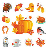 Thanksgiving icons set. Royalty Free Stock Photos