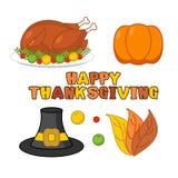 Thanksgiving icons set. Roasted turkey and fresh pumpkin. Pilgri Stock Photos