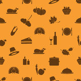 Thanksgiving icons set seamless autumn pattern. Eps10 Stock Photo