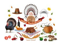Thanksgiving icons set. Harvest festival. Thanksgiving symbols and greeting inscription. Vector color icons isolated on white background vector illustration