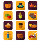 Thanksgiving icons Stock Image