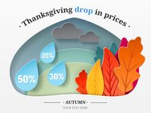Thanksgiving illustration. Autumn forest, trees in the form of autumn leaves, clouds, drops cut from paper with text Stock Images