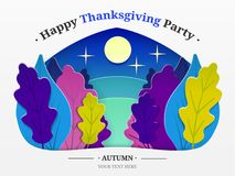Thanksgiving illustration. Autumn forest, trees in the form of autumn leaves, the moon is cut from paper with text. EPS Stock Photos