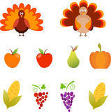 Thanksgiving Illustrations, Turkey, Grape, Corn, Apple Illustrations Stock Image