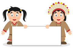 Thanksgiving Indians with Blank Banner Royalty Free Stock Images