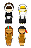 Thanksgiving Indians and Pilgrims women. Illustration, on white background Royalty Free Stock Photos