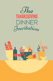 Thanksgiving invitation template. Thanksgiving dinner invitation display with table setting and blank spce for text vector illustration